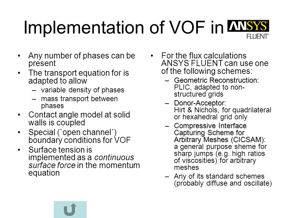 Implementation of VOF in
