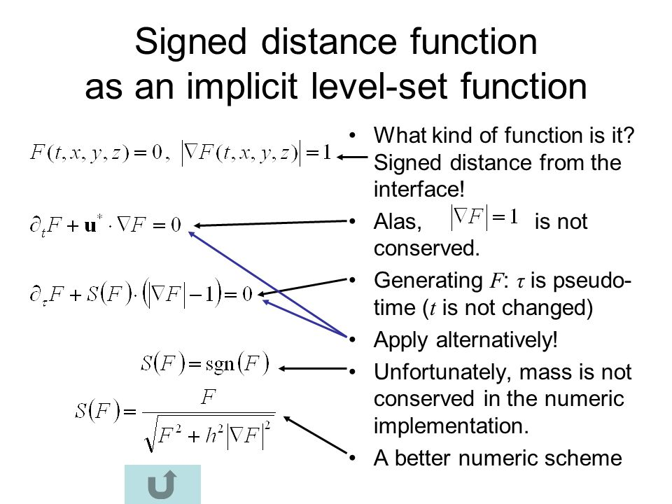 Signed distance function as an implicit level-set function