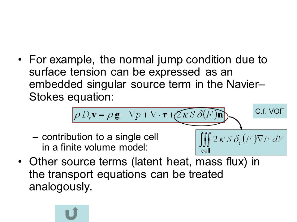 For example, the normal jump condition due to surface tension can be expressed as an embedded singular source term in the Navier–Stokes equation: