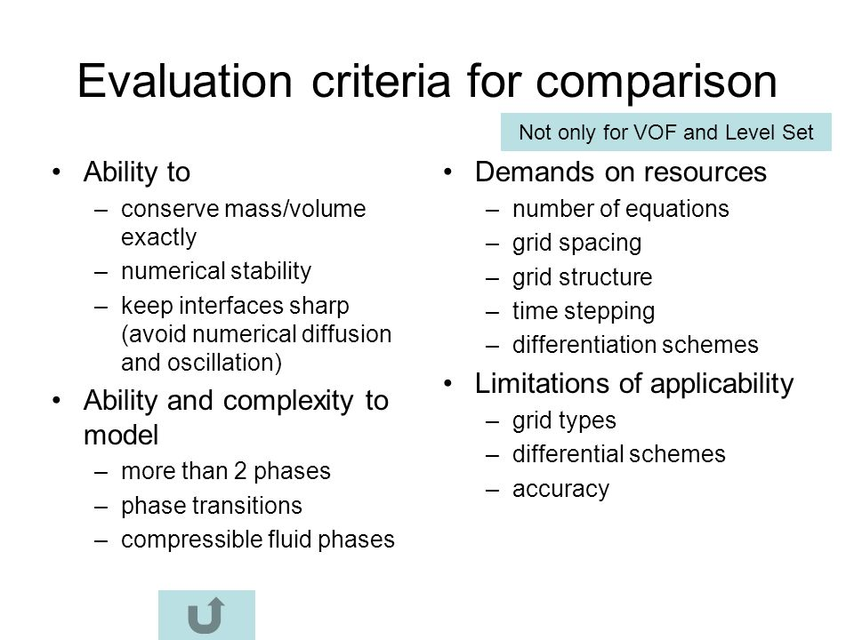 Evaluation criteria for comparison