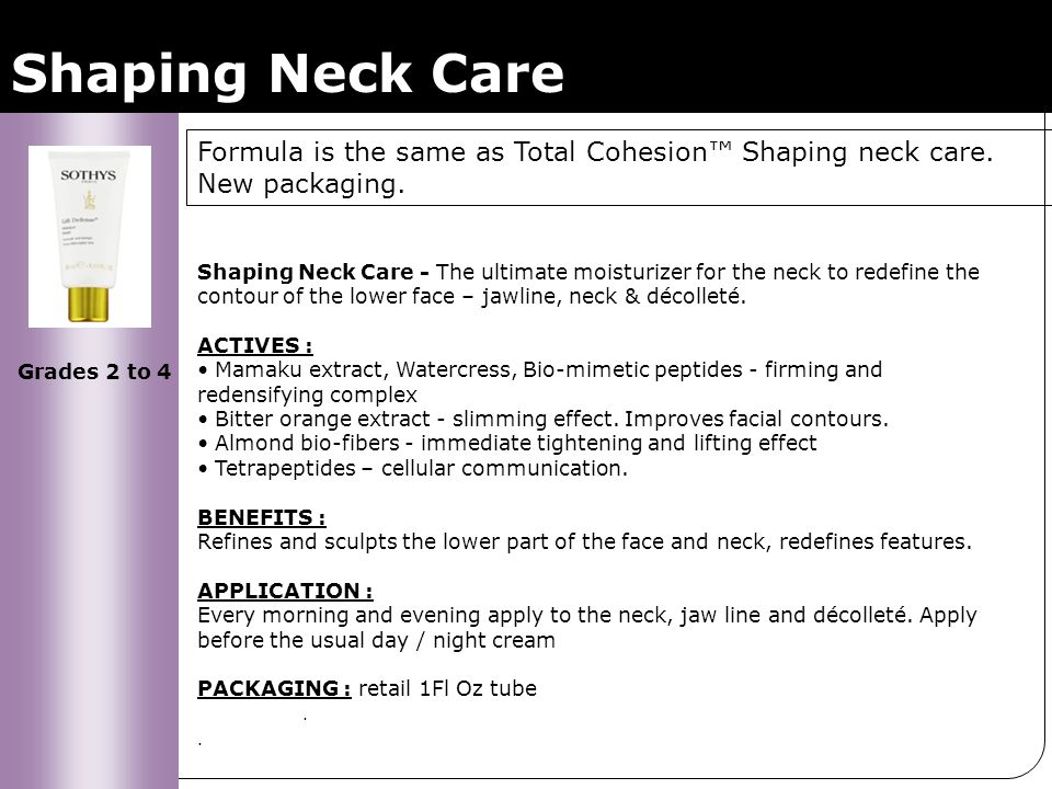 Shaping Neck Care Formula is the same as Total Cohesion™ Shaping neck care. New packaging.