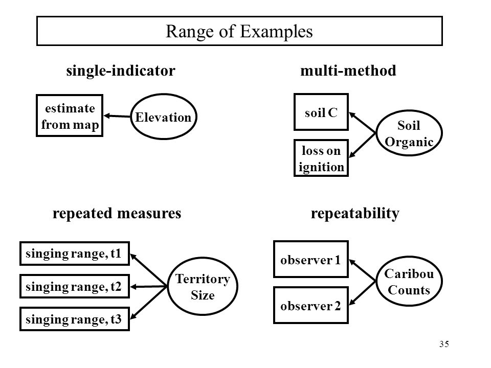 Range of Examples single-indicator multi-method repeated measures
