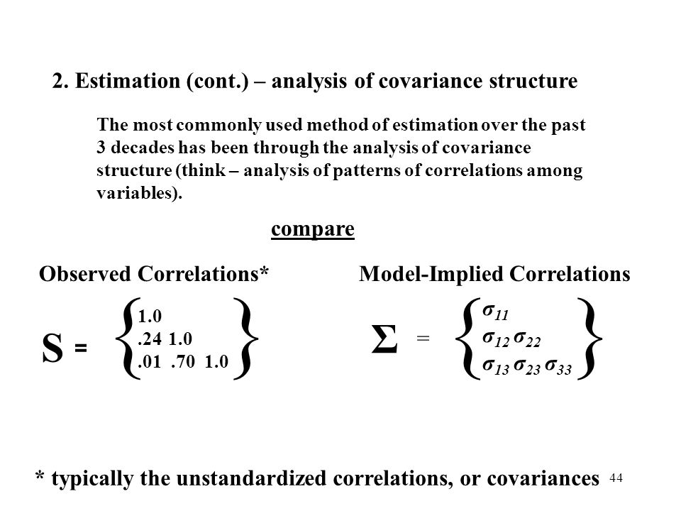 { } Σ S = σ11 σ12 σ22 σ13 σ23 σ33 Model-Implied Correlations