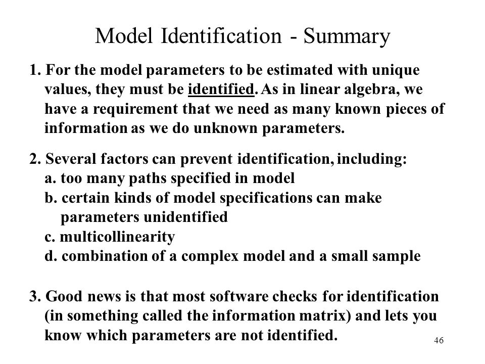 Model Identification - Summary