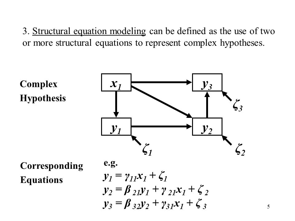 y2 y1 x1 y3 ζ1 ζ3 y1 = γ11x1 + ζ1 y2 = β 21y1 + γ 21x1 + ζ 2