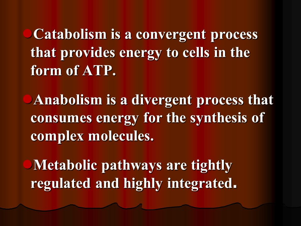 Catabolism is a convergent process that provides energy to cells in the form of ATP.
