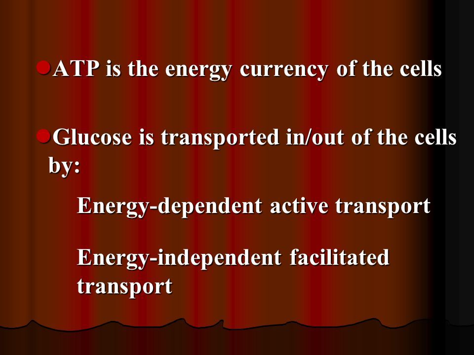 ATP is the energy currency of the cells