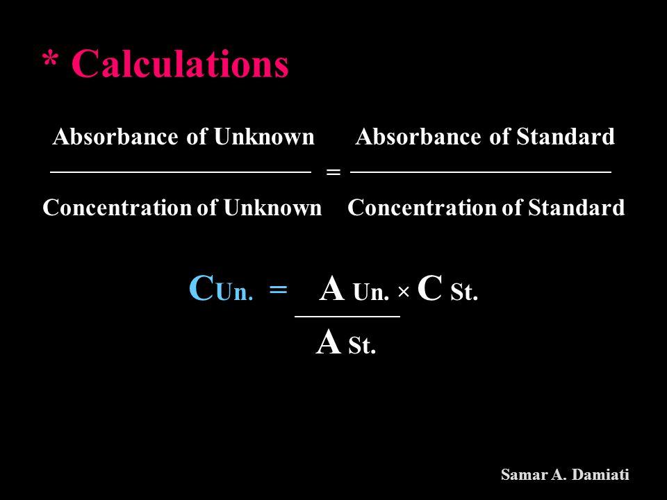 * Calculations CUn. = A Un. × C St.