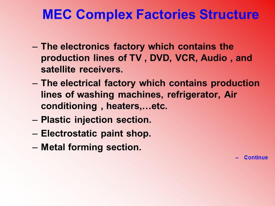MEC Complex Factories Structure