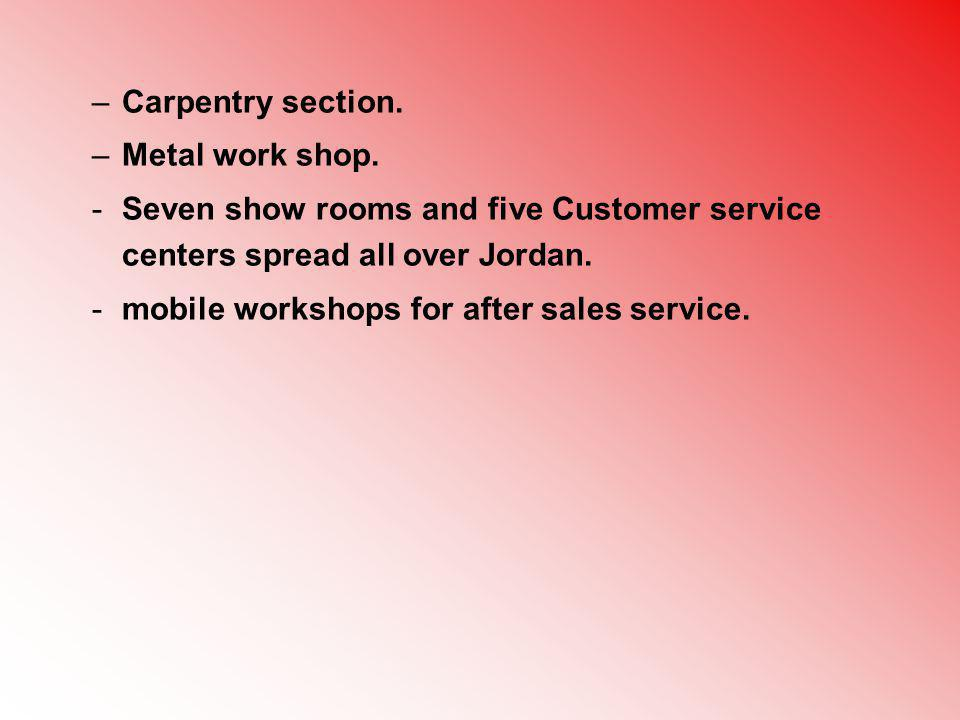 Carpentry section. Metal work shop. Seven show rooms and five Customer service centers spread all over Jordan.