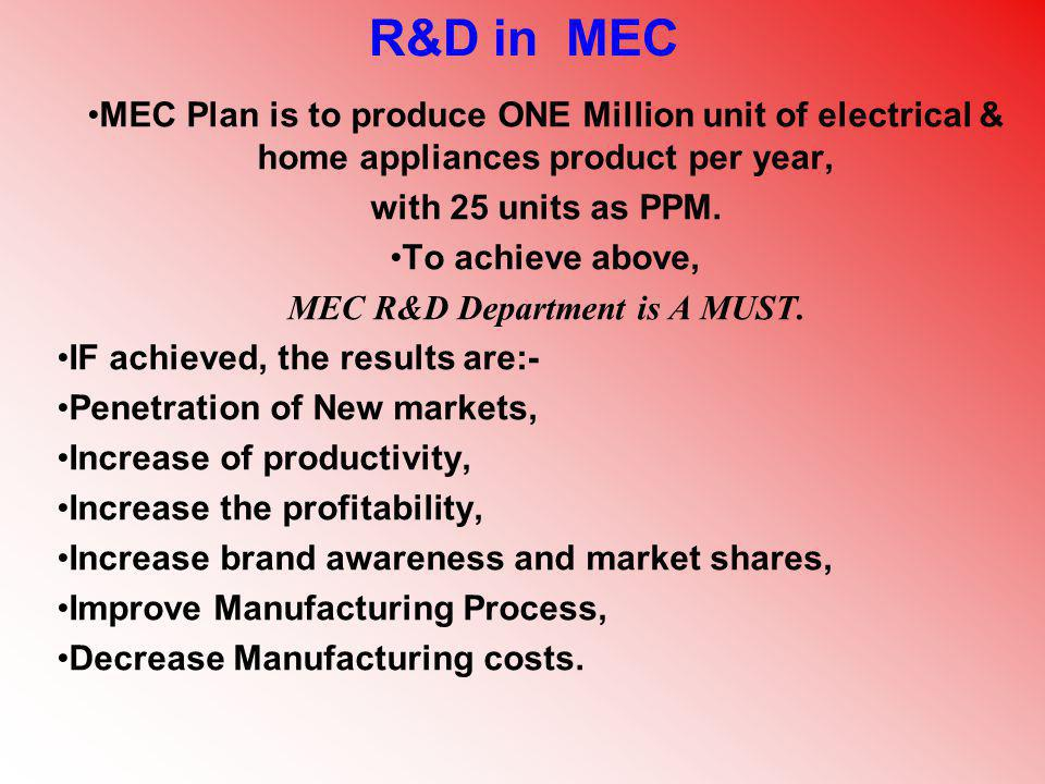MEC R&D Department is A MUST.