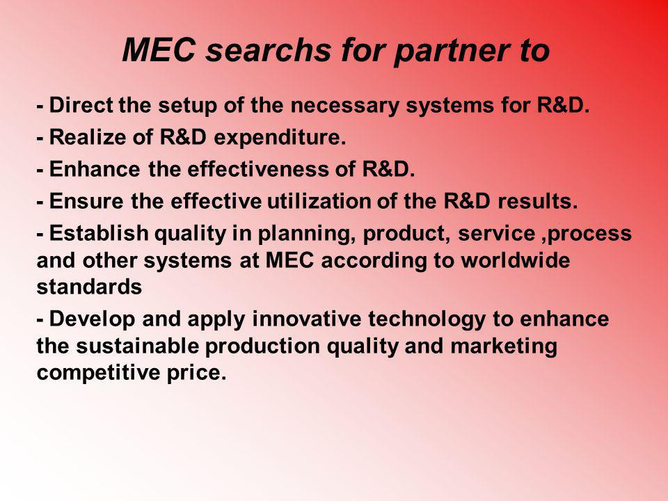 MEC searchs for partner to