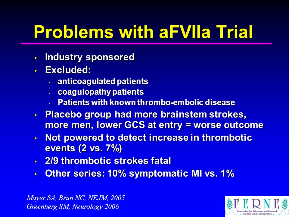 Problems with aFVIIa Trial