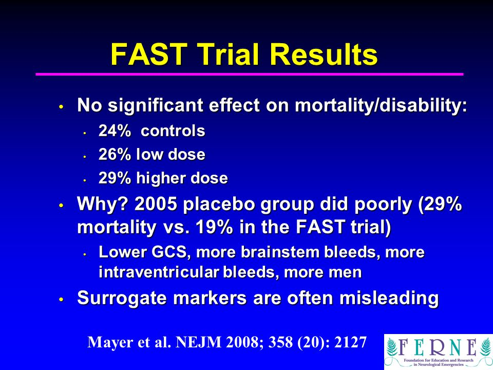 FAST Trial Results No significant effect on mortality/disability: