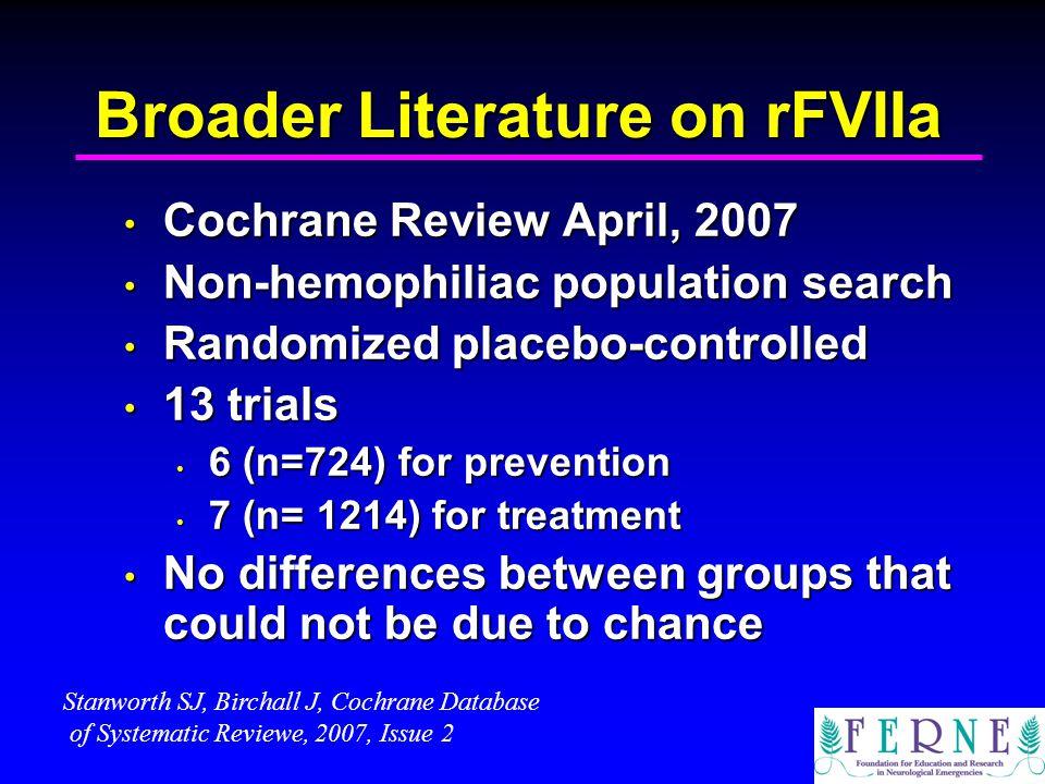 Broader Literature on rFVIIa