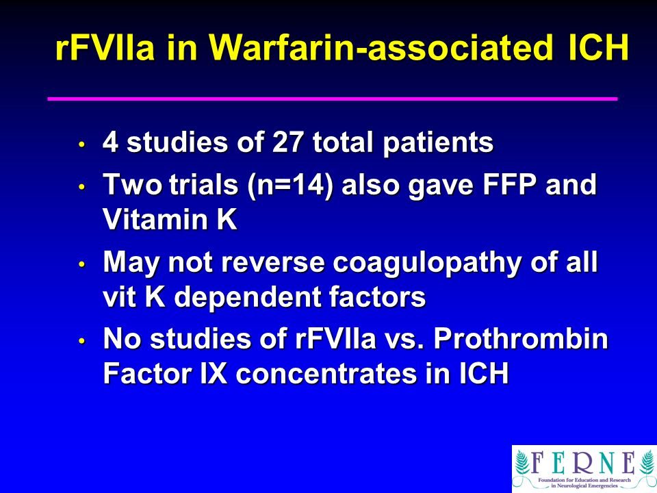 rFVIIa in Warfarin-associated ICH