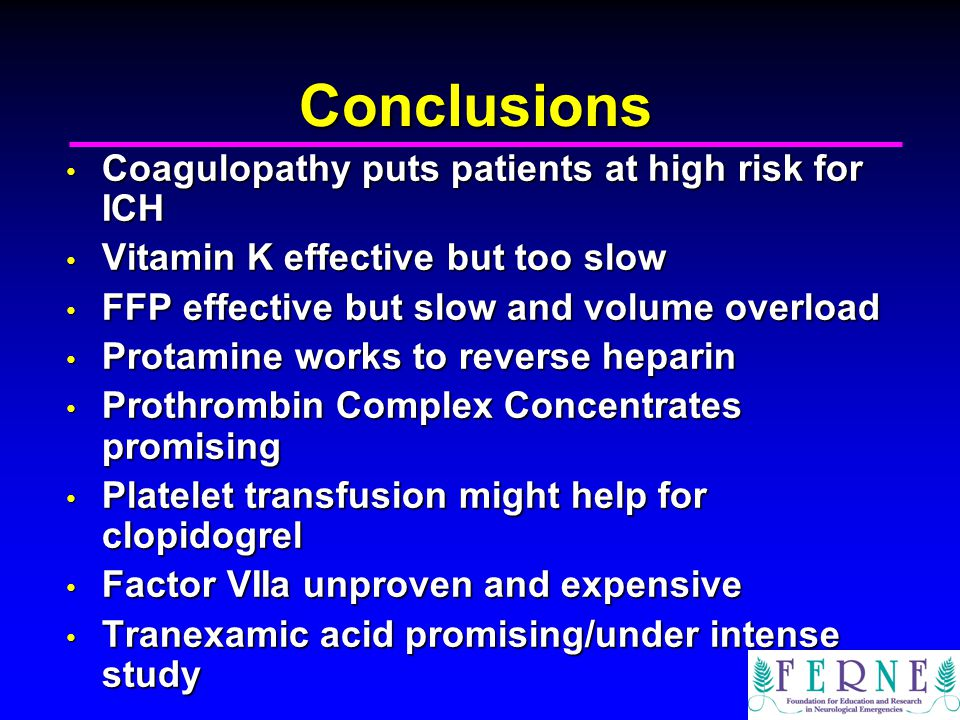 Conclusions Coagulopathy puts patients at high risk for ICH