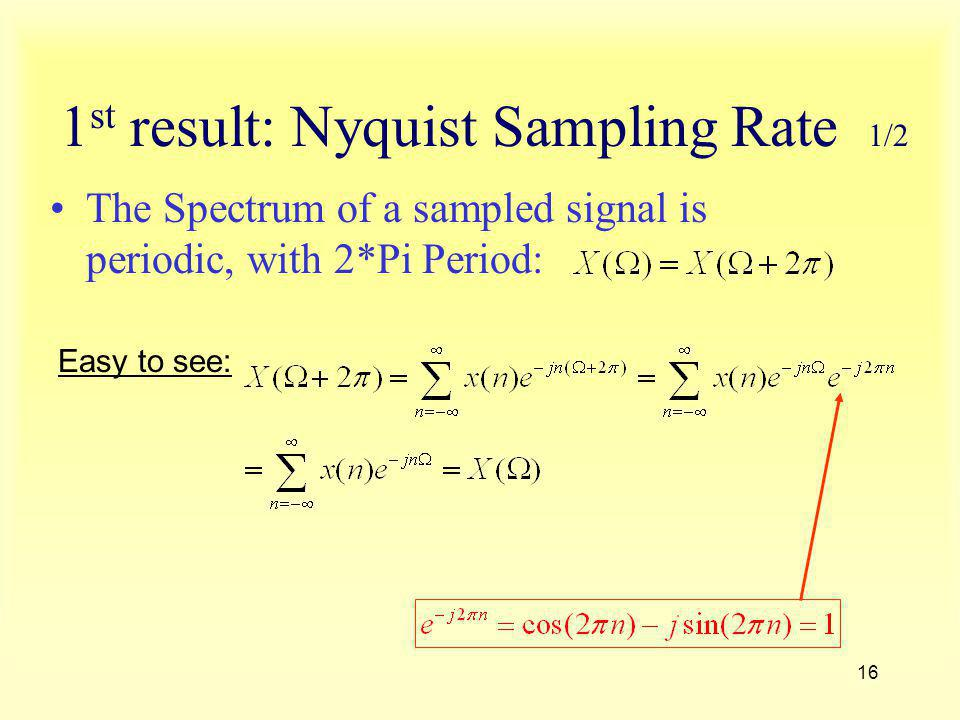 1st result: Nyquist Sampling Rate 1/2