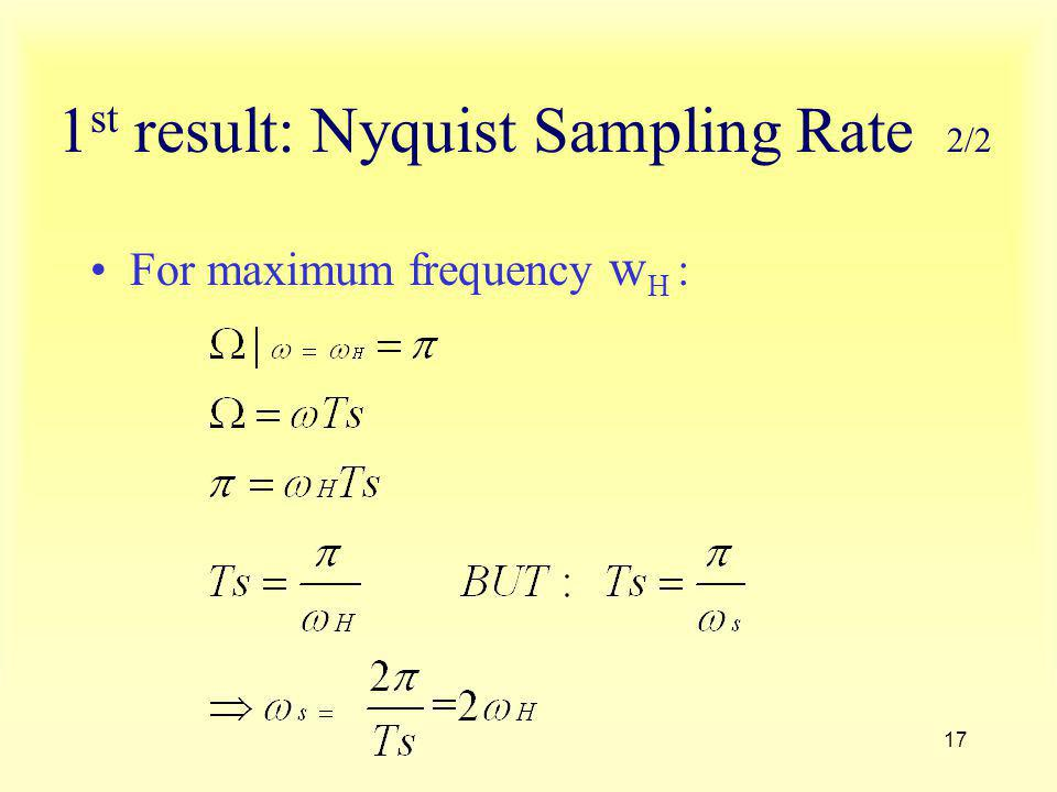 1st result: Nyquist Sampling Rate 2/2