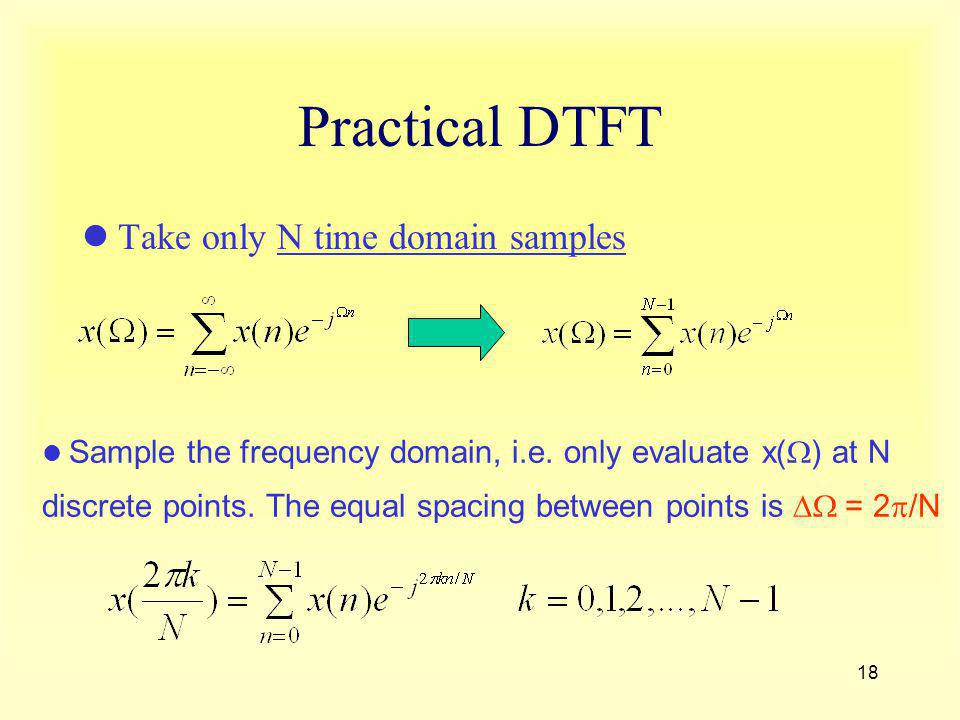 Practical DTFT Take only N time domain samples