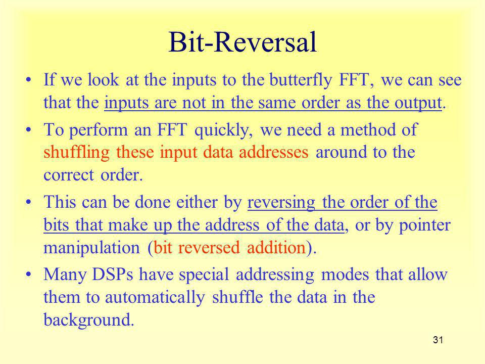 Bit-Reversal If we look at the inputs to the butterfly FFT, we can see that the inputs are not in the same order as the output.