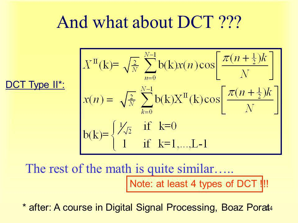 And what about DCT The rest of the math is quite similar…..