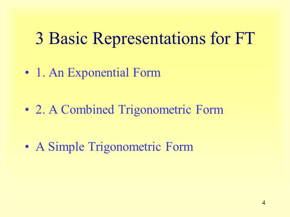3 Basic Representations for FT