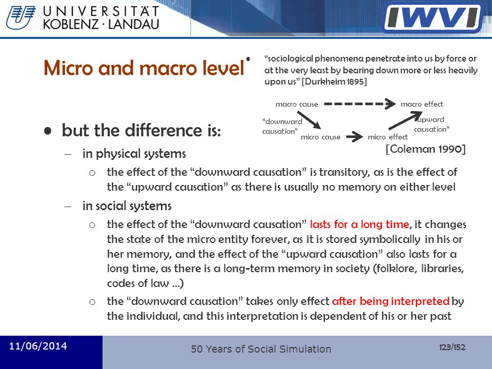 Micro and macro level but the difference is: in physical systems