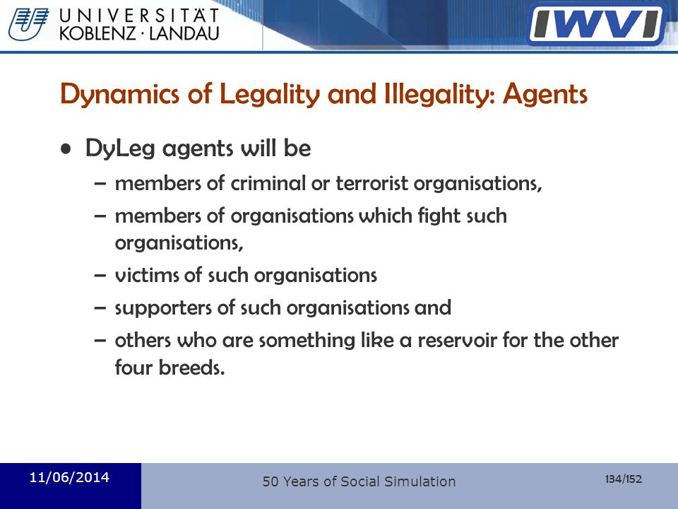 Dynamics of Legality and Illegality: Agents