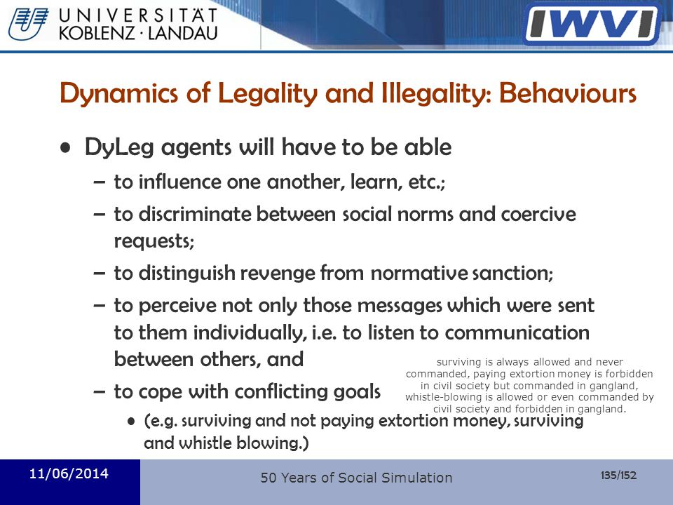 Dynamics of Legality and Illegality: Behaviours