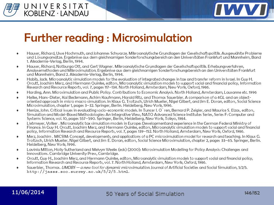 Further reading : Microsimulation