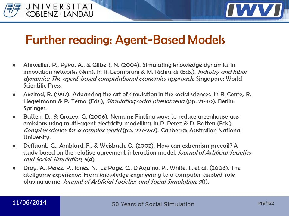Further reading: Agent-Based Models
