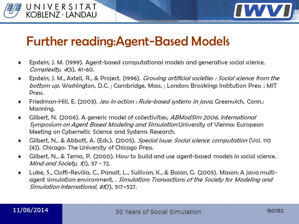 Further reading:Agent-Based Models