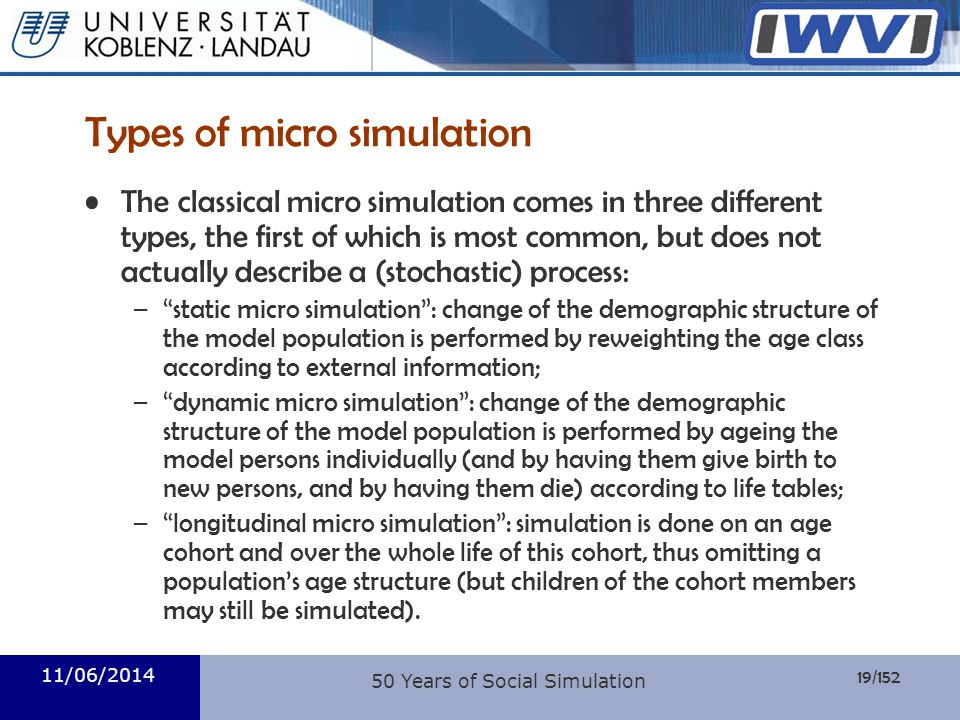 Types of micro simulation