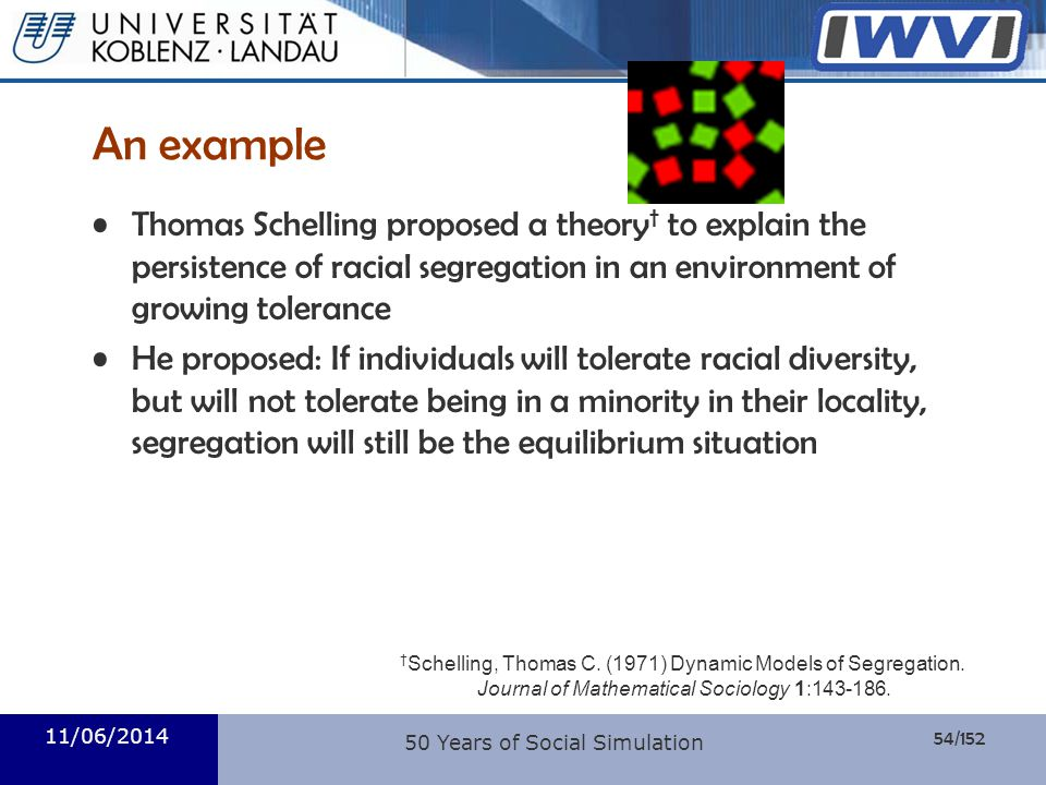 An example Thomas Schelling proposed a theory† to explain the persistence of racial segregation in an environment of growing tolerance.