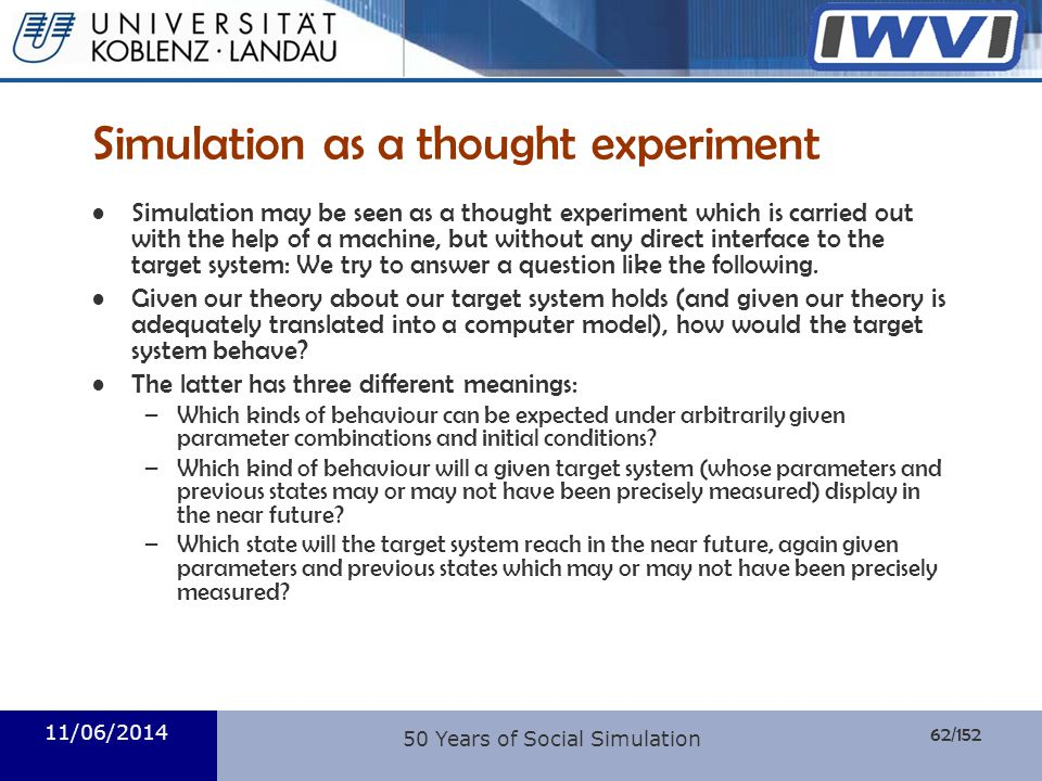 Simulation as a thought experiment