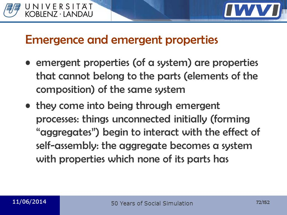 Emergence and emergent properties