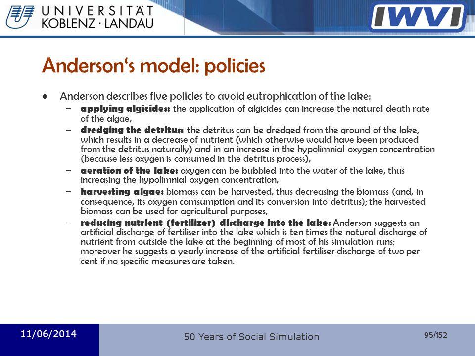 Anderson's model: policies