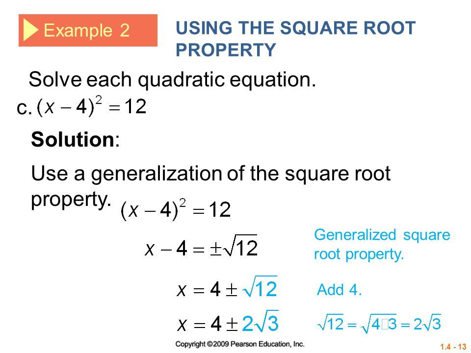 Solve each quadratic equation. c.
