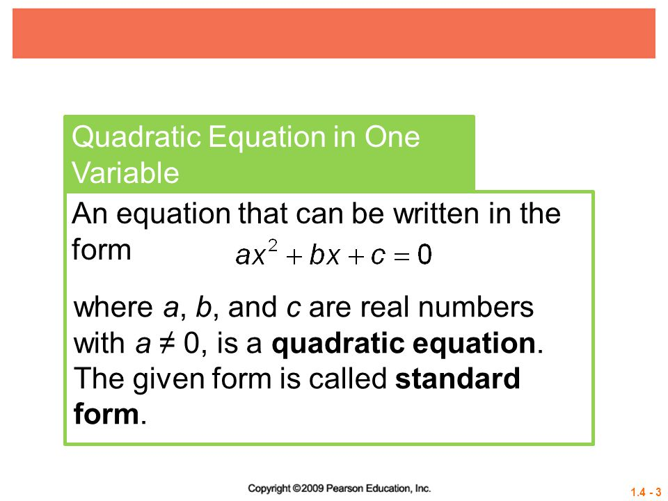 Quadratic Equation in One Variable