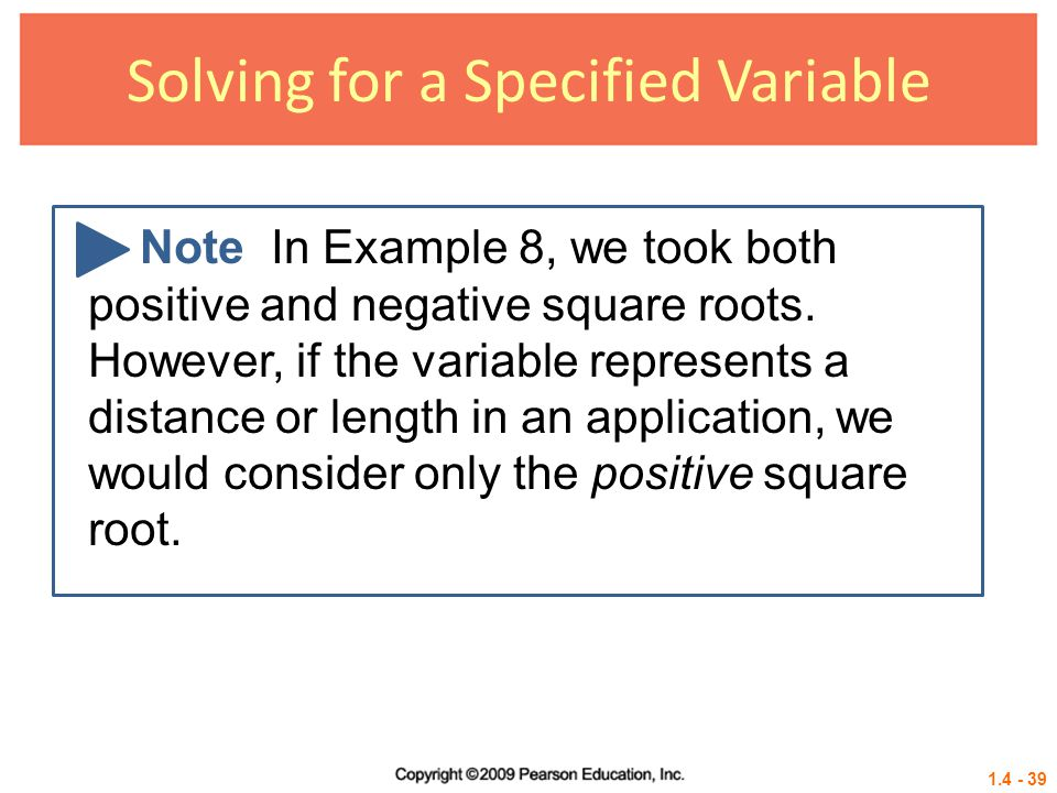 Solving for a Specified Variable