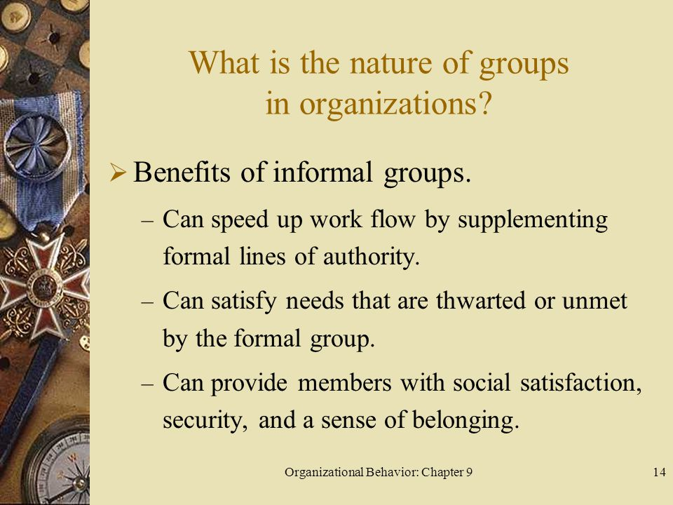 What is the nature of groups in organizations