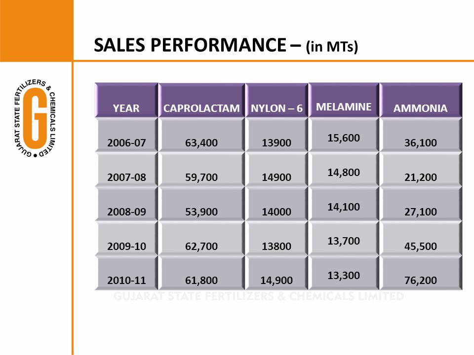 SALES PERFORMANCE – (in MTs)