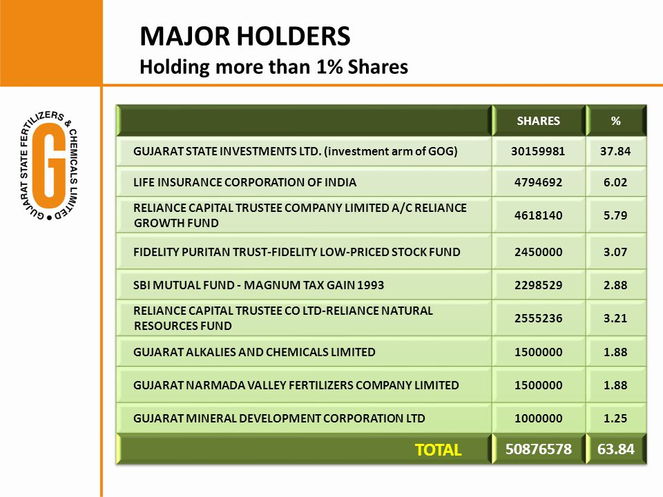 MAJOR HOLDERS Holding more than 1% Shares