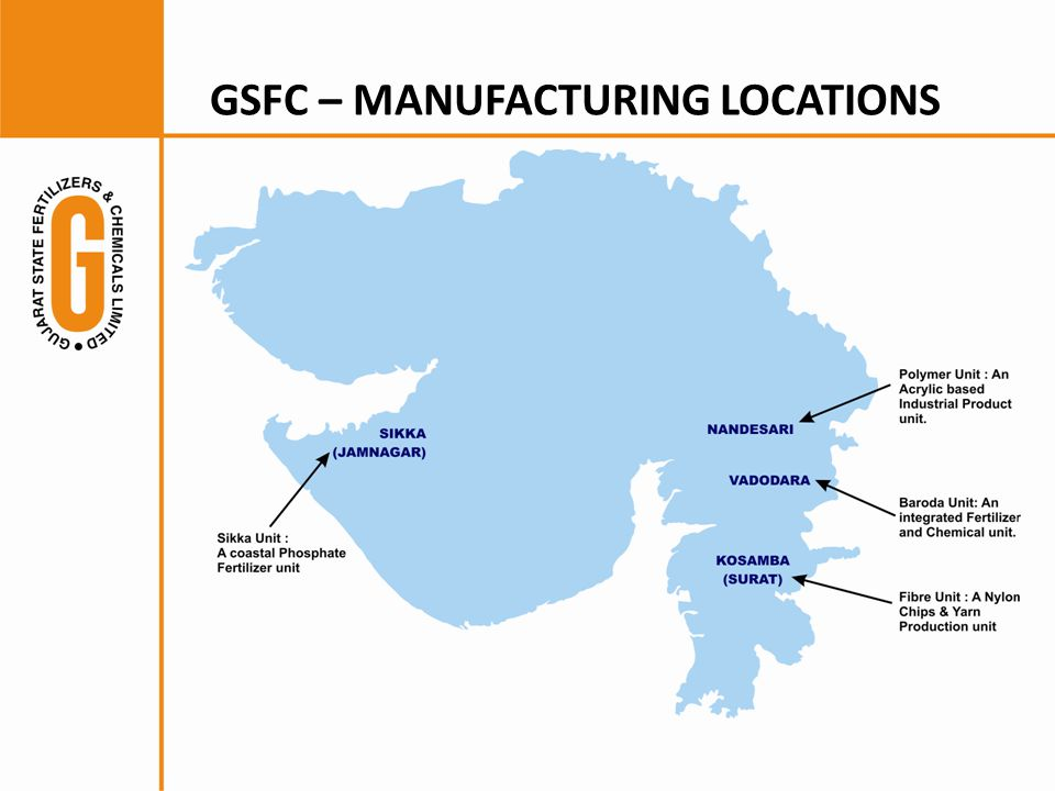 GSFC – MANUFACTURING LOCATIONS