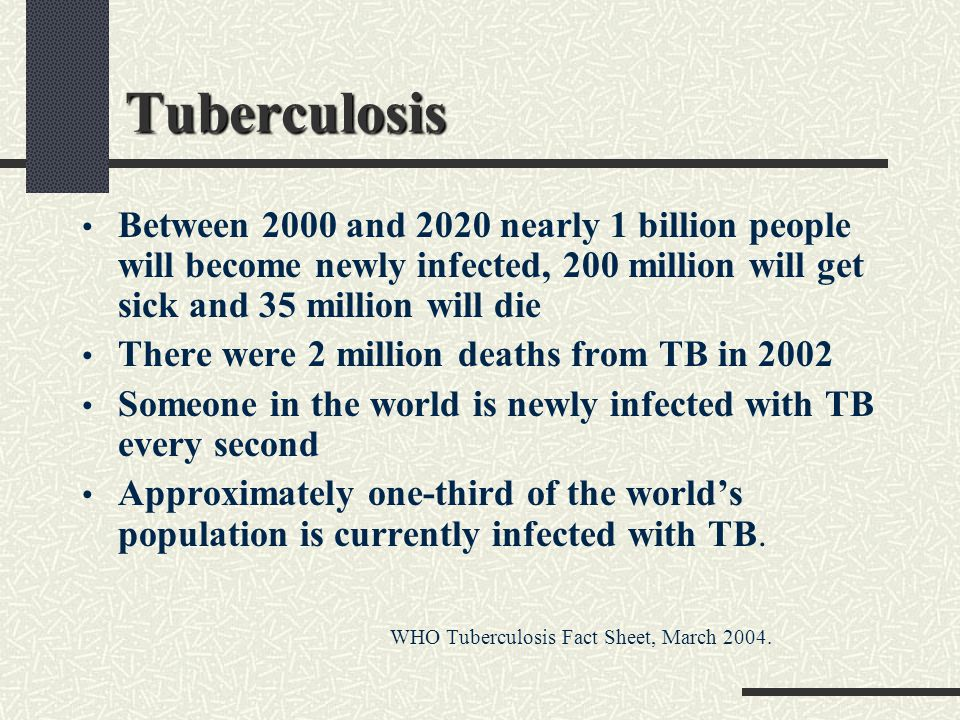 Tuberculosis Between 2000 and 2020 nearly 1 billion people will become newly infected, 200 million will get sick and 35 million will die.