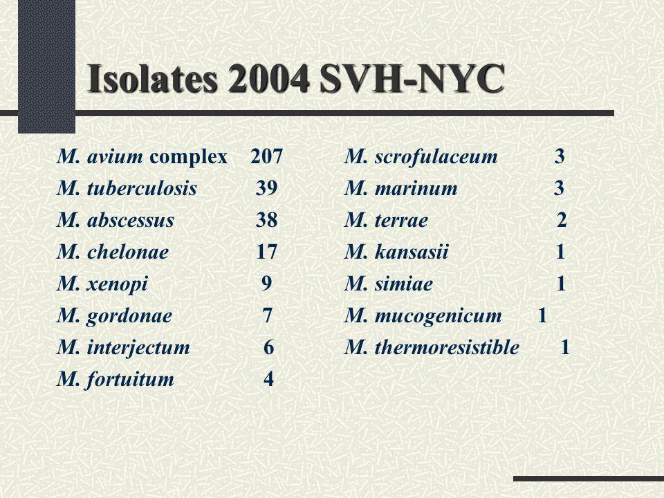 Isolates 2004 SVH-NYC M. avium complex 207 M. tuberculosis 39