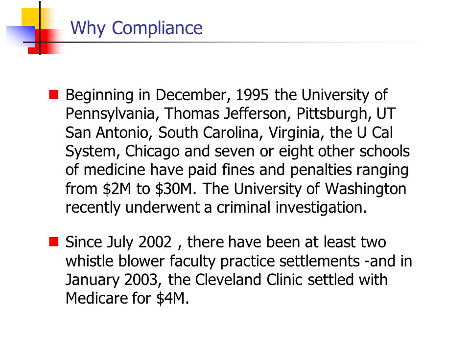 Why Compliance