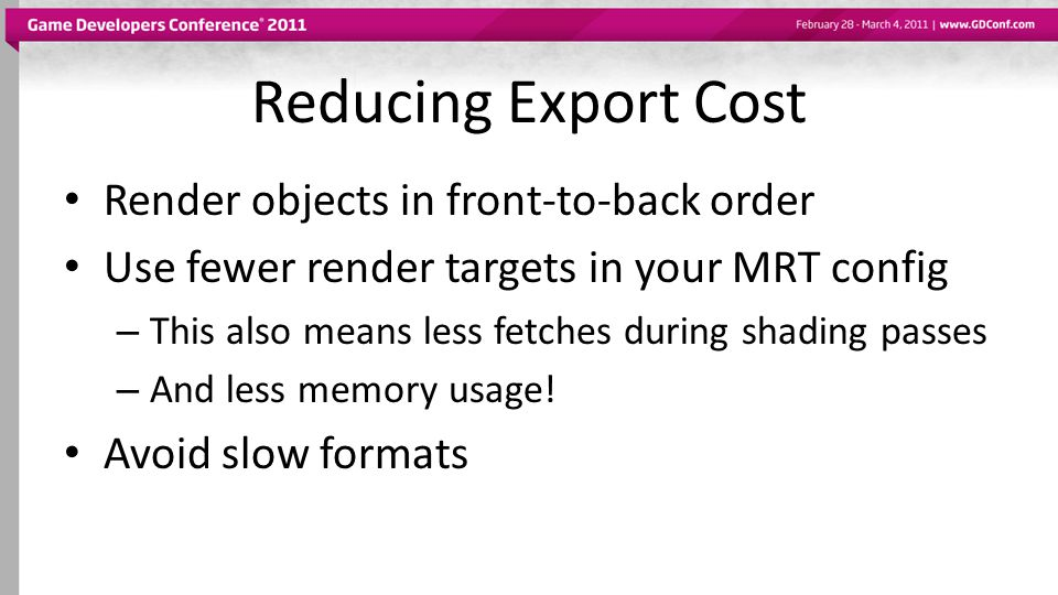 Reducing Export Cost Render objects in front-to-back order