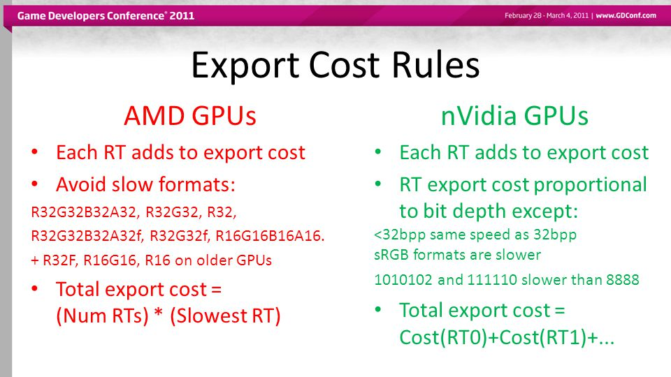 Export Cost Rules AMD GPUs nVidia GPUs Each RT adds to export cost